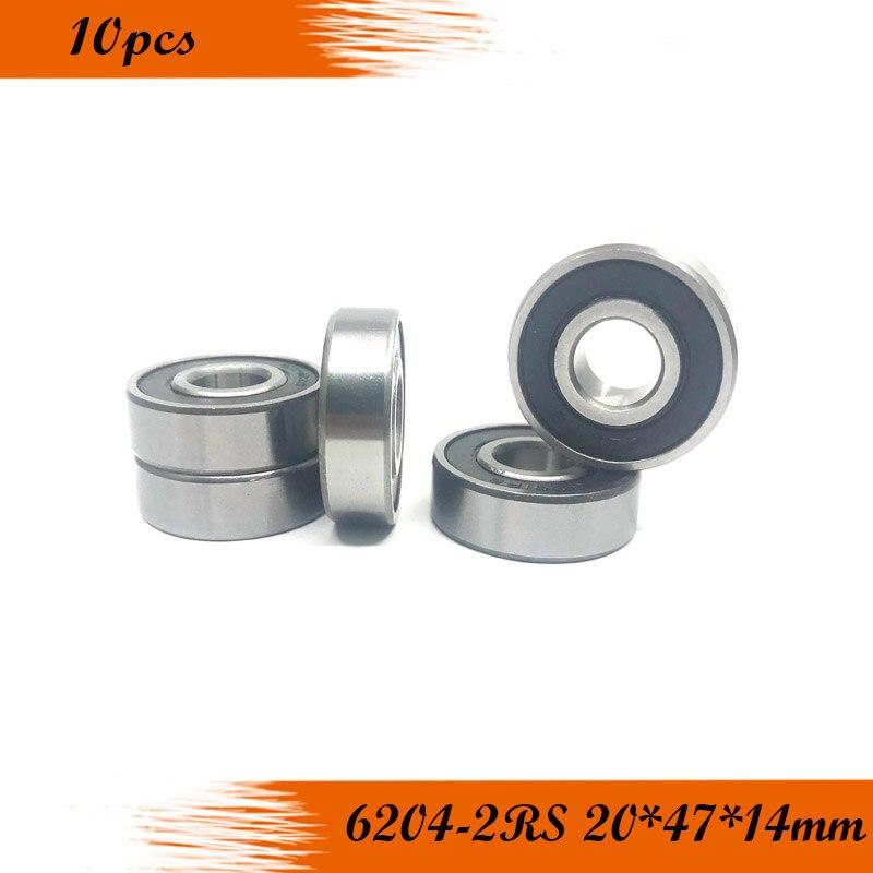 شحن مجاني 10 قطعة 6204-2RS 6204RS 6204rs 6204 rs المطاط مختومة كرات تروس الحمل عميقة الاخدود 20x47x14 مللي متر
