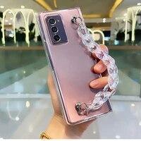 luxury fashion diy laser portable hand chain bracelet case cover for samsung galaxy z fold 2 3 5g hard pc back case