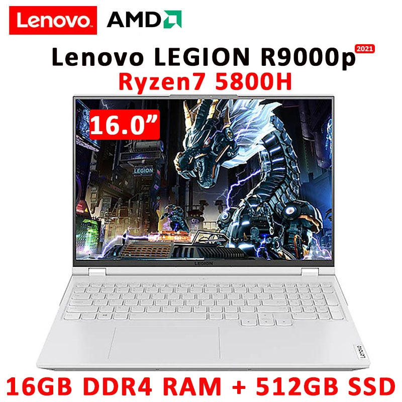 Review New Lenovo Legion R9000P 2021 Gaming Laptop 16inch 165Hz High Refresh Rate IPS Screen AMD R7 5800H GeForce RTX3060 Backlit metal