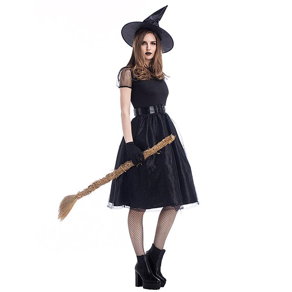 Nuevo disfraz negro de la bruja gótica del anime para las mujeres adultas Purim Halloween Cosplay Party Wizards Fancy Dress