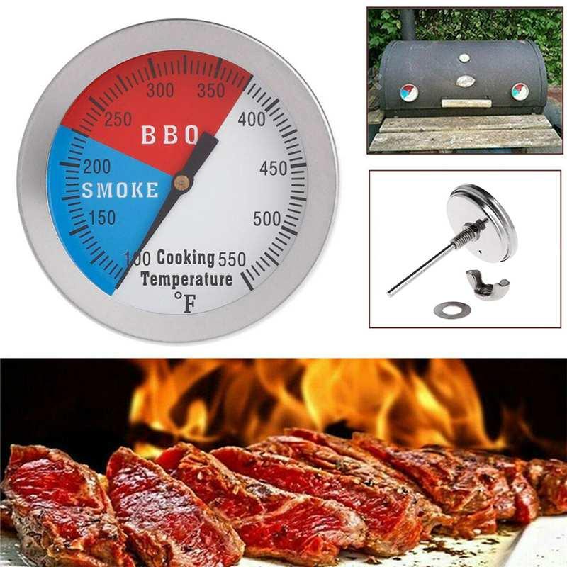 Ahumador Parrilla de calibre 0-550 Celsius, parrilla de cocina, termómetro para ahumar, barbacoa, termómetro para fumar, termómetro de calibre