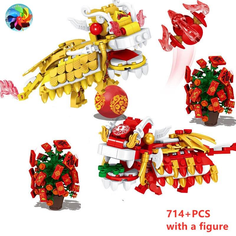 714 шт. китайский новый год ужин танец льва дракона фигурки конструкторных блоков, Детские кубики, игрушки в подарок для детей