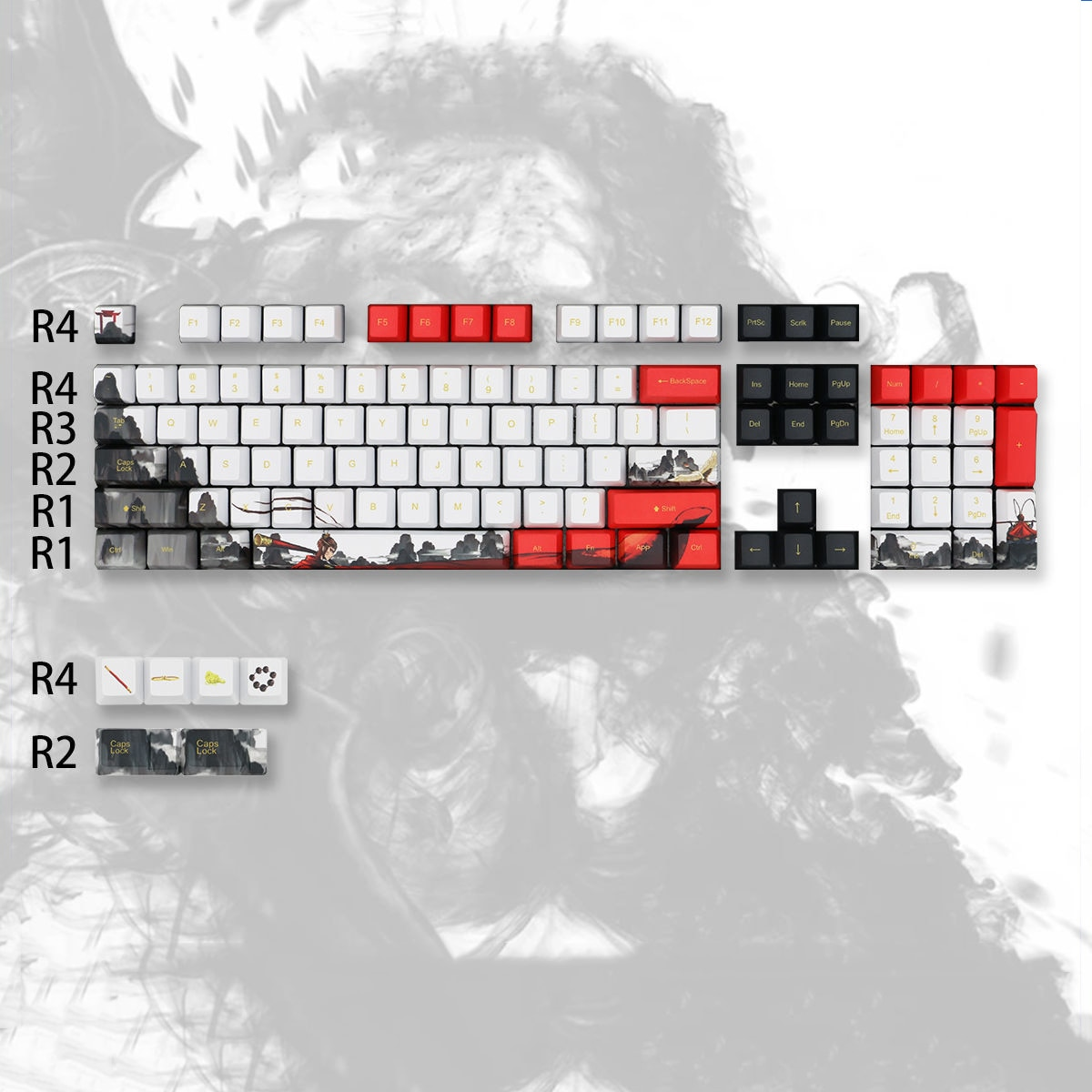 110-key Journey To The West Monkey King Keycap PBT Five-sided Sublimation Cherry Height Mechanical Keyboard Keycap Cherry MX 104 enlarge