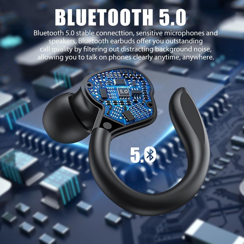 TWS Bluetooth Earphones With Microphones Sport Ear Hook LED Display Wireless Headphones HiFi Stereo Earbuds Waterproof Headsets enlarge