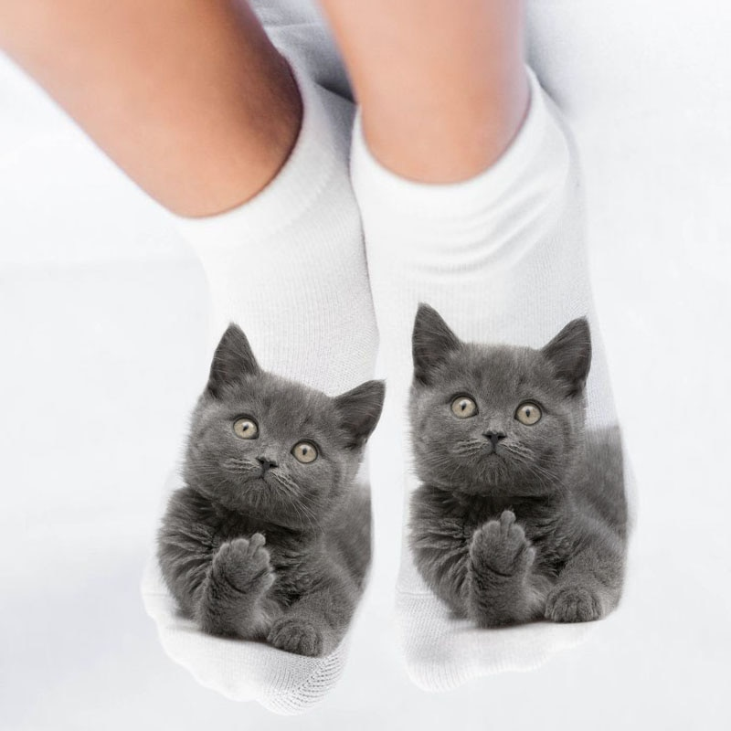 New 3D Print Funny Cute Cartoon Kitten Unisex Short Socks Creative Colorful Multiple Cat Face Happy Low Ankle Socks For Women