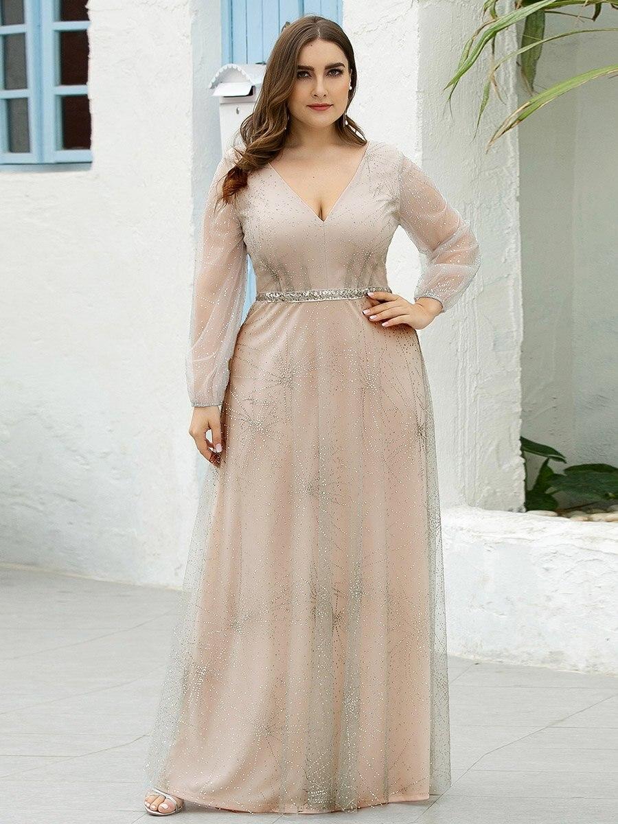 Maxi Long Plus Size Wholesale Prom Dresses With Lantern Long Sleeve
