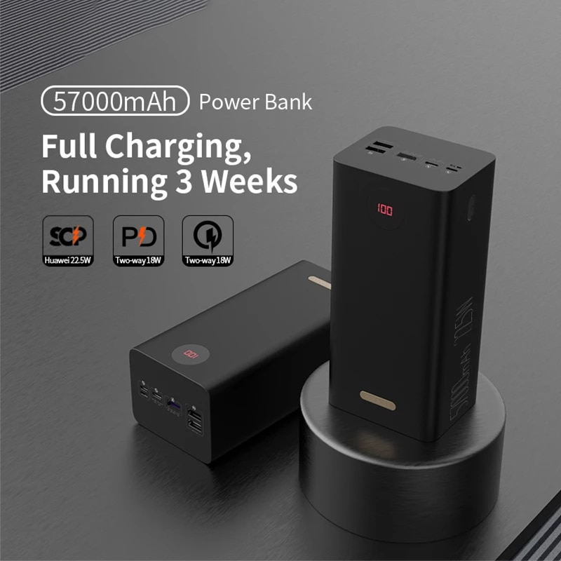 Promo Power Bank 57000mAh SCP PD QC 3.0 Two-way Fast Charging Powerbank Type-C External Battery Charger For Huawei iPhone