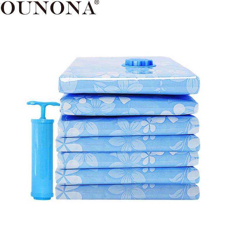 OUNONA 11 قطعة حقيبة التخزين فراغ سميكة أكياس مضغوطة الفضاء التوقف التعبئة حقيبة مع مضخة اليد للملابس بطانية لحاف
