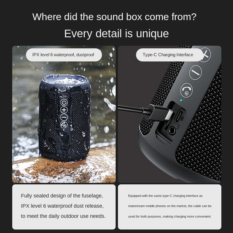 OHAYO X10 Pro Wireless Bluetooth Speaker Stereo Powerful Portable Subwoofer Waterproof Outdoor Mini Column 16-Hour Play Time enlarge
