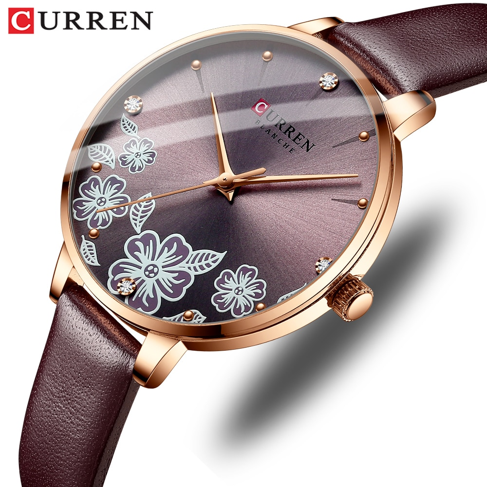 CURREN Watches for Woman Fashion Creative Romantic Flower Dial Quartz Ladies Wristwatches Female Clo