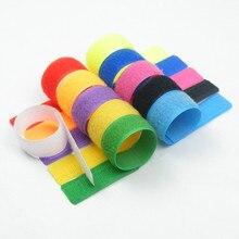 50pcs coloré bande casque données câble finition stockage boucle vêtements bricolage adhésif attache sangle réutilisable en nylon tissu