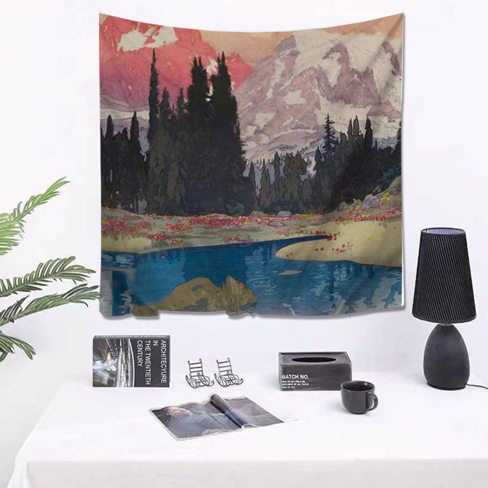 Tapiz de Mandala Hippie nórdico, decoración para colgar en la pared, Alfombra de Yoga Chakra, tapiz abstracto psicodélico para pared, tapices de montaña de sol