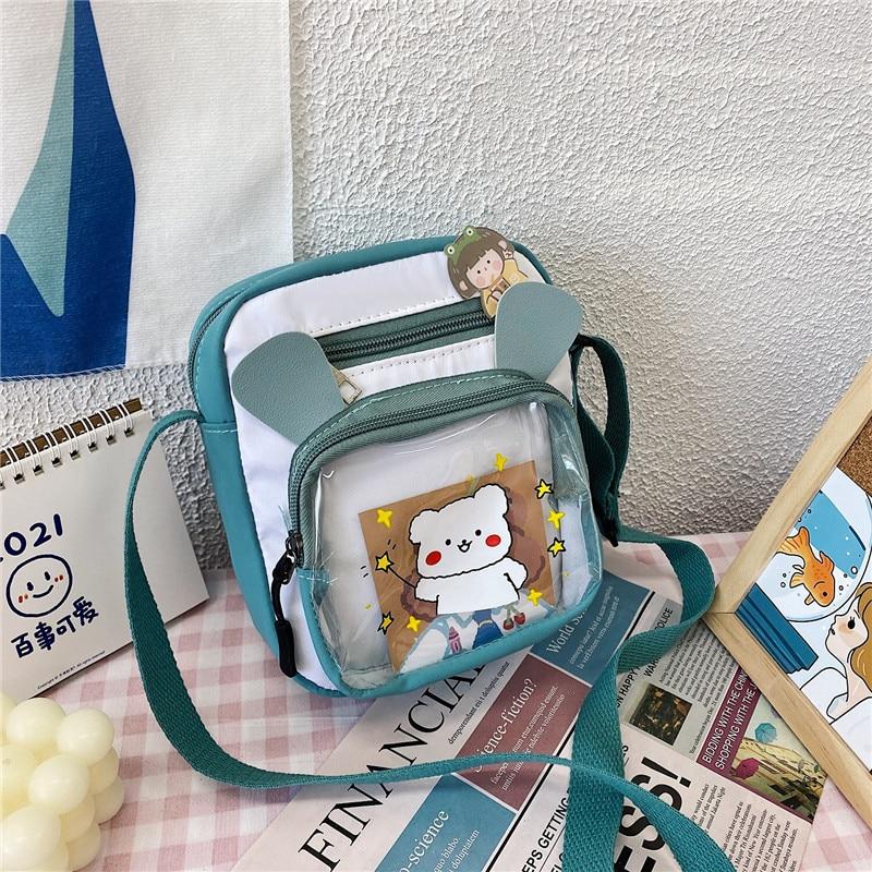 College Style Soft Sister Messenger Bag New Popular Contrast Transparent Cartoon Cute Girl Student B