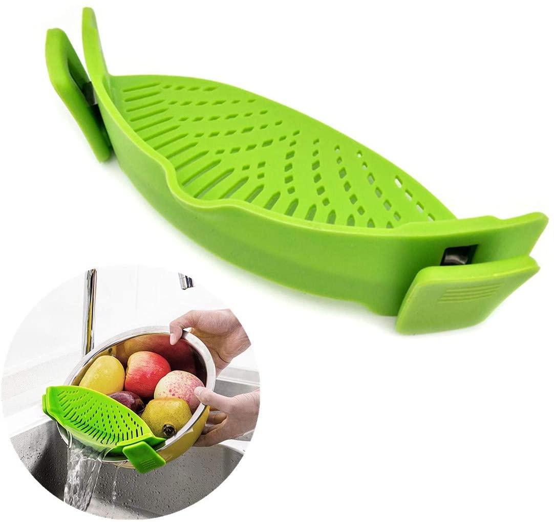 Filtro de olla colador recipiente Clip Snap on Anti calor Flexible Filtro de desagüe de silicona para Pasta carne verduras fruta