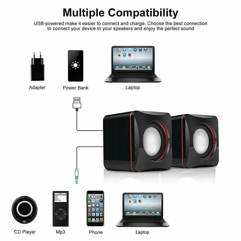 Portable Computer Speakers USB Powered Desktop Mini Speaker Bass Sound Music Player System Wired Small Speaker enlarge