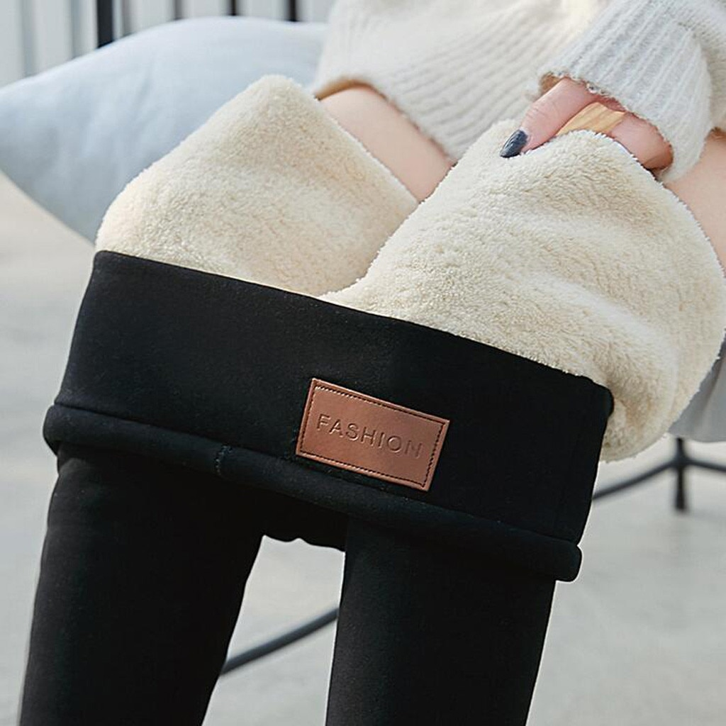 Pantalones térmicos pitillo sólidos cálidos de invierno, ajustados, gruesos, de terciopelo, lana para mujer, pantalones de Cachemira d91119