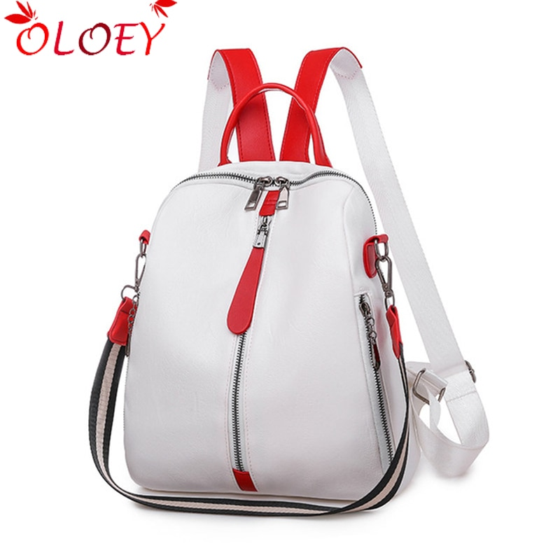 Mochila de moda para mujer, mochila de cuero suave, mochila blanca para mujer, mochila de viaje de alta calidad, mochilas escolares para niñas Sac A Dos Hot