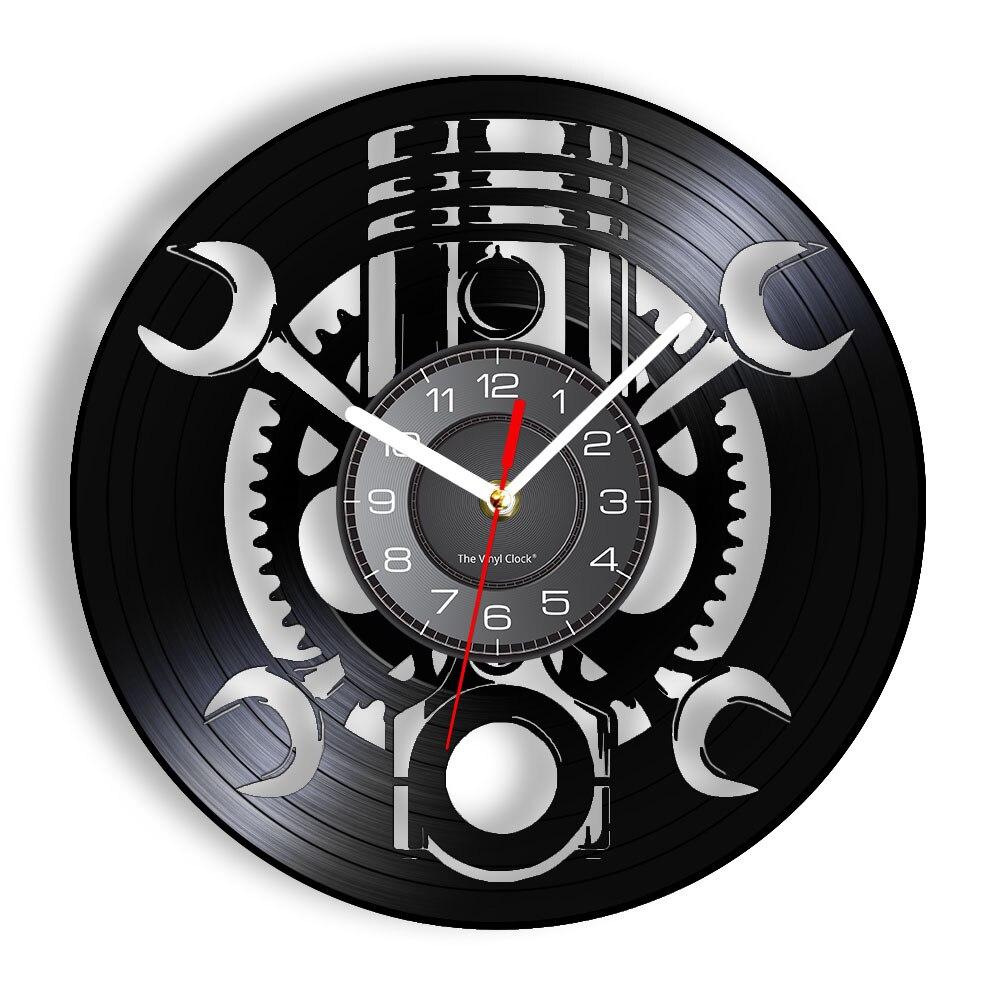 Pistón de servicio de reparación de coches, reloj de pared de grabación...