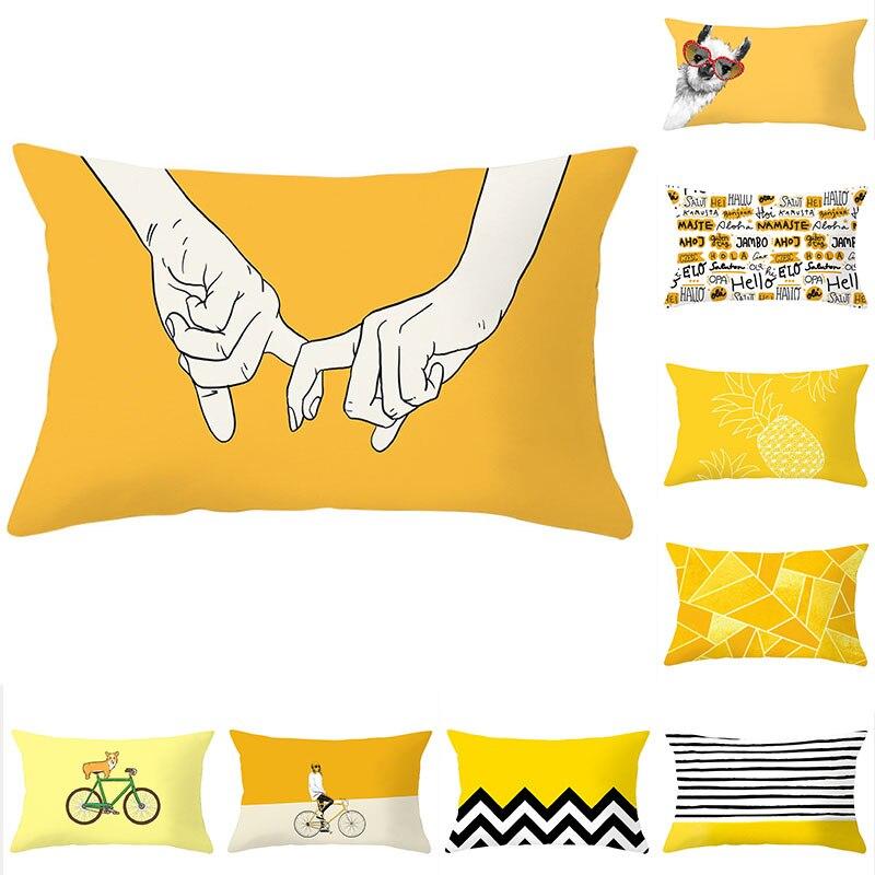 Poszewka na poduszkę 30x50 poszewka na poduszkę żółta geometryczna Sofa rzuć poduszka ozdobne poszewki na zagłówki poliestrowa poduszka dekoracyjna do domu