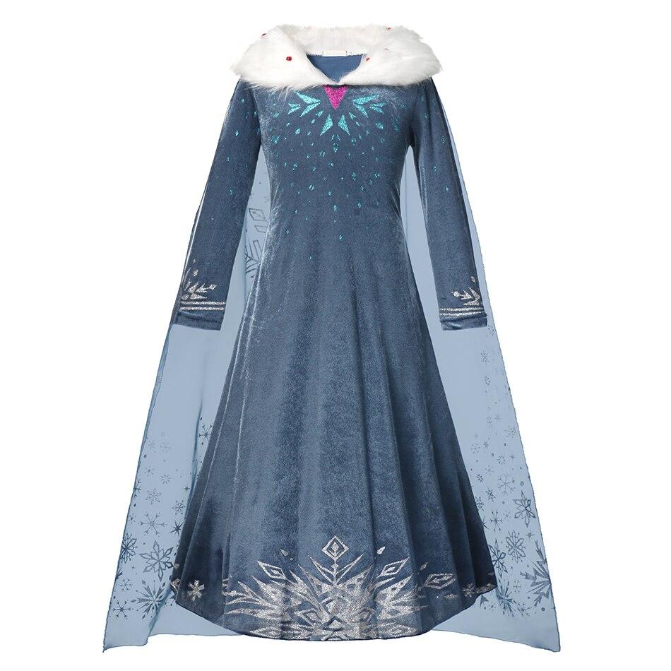 MUABABY Elsa Kleid Up Für Mädchen Schneeflocke Gedruckt Winter Neue Party Kleid Kinder Halloween Phantasie Warme Kragen Kostüm 3-10T