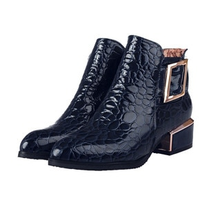 Women Boots Leather Spring Autumn 2020 Ankle Boot Female England Women Short Boots Pointed Square Heel Boot
