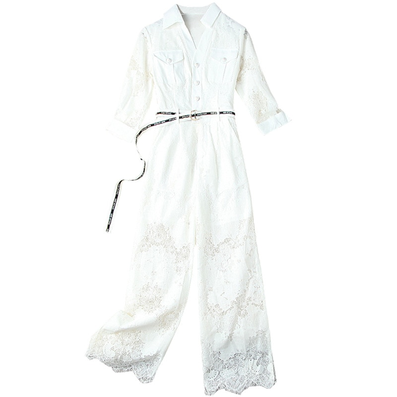 White Jumpsuit Women 2021 Autumn New Solid Color Commuter Three-Quarter Sleeves High Waist Slim Belted Hollow Out Lace Rompers enlarge
