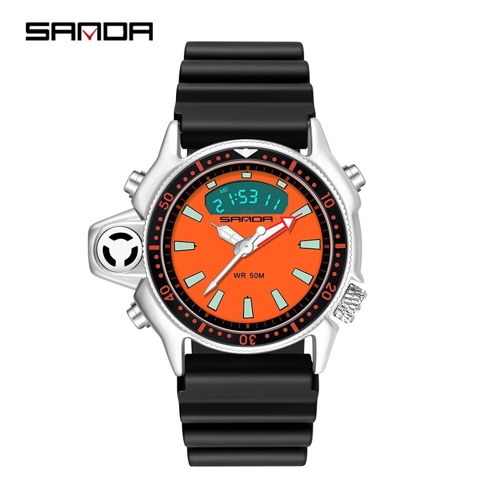 Sanda New Fashion Sport Men Quartz Watch Dual Display Military Watches Resin Strap Waterproof S Shock Male Clock