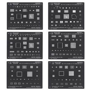 High Quality MEGA IDEA Chip IC BGA Reballing Stencil Set For iphone 11 pro max xs xsmax x 8 7 6s 6 plus CPU Power U2 BGA stencil