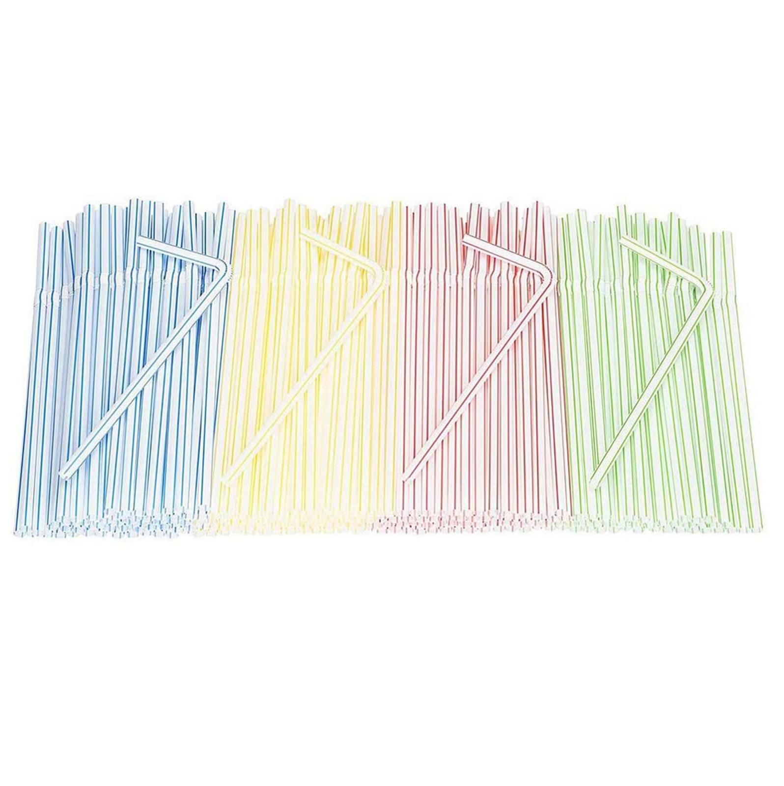 300 Pack Disposable Straws Flexible Plastic Straws Drinking Striped Multi Color Rainbow Straws Bendy Straw Bar Accessories #srn