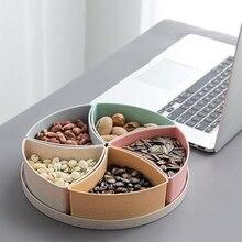 Paille de blé ronde divisée 5 compartiments bonbons Snack organisateur stockage servant conteneur plat plateau avec couvercle Samll