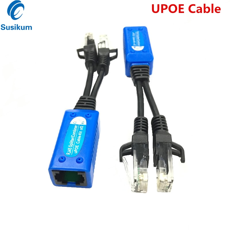 1 Pair RJ45 Splitter Combiner uPOE Cable Two POE Camera Use One Network POE Adapter Cable Connectors Passive Power poe camera simplified wiring connector splitter 2 in 1 network cabling connector three way rj45 head security camera install