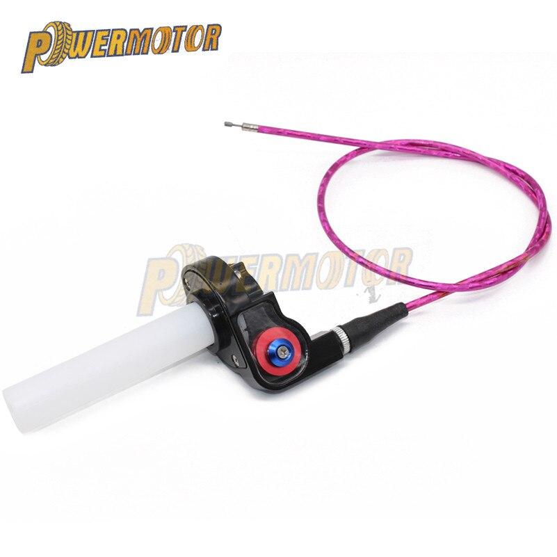 Empuñaduras de fijación, abrazadera para Acelerador de plástico y aluminio con Cable de acelerador para motocicleta Pit Dirt Bike Motocross ATV todoterreno