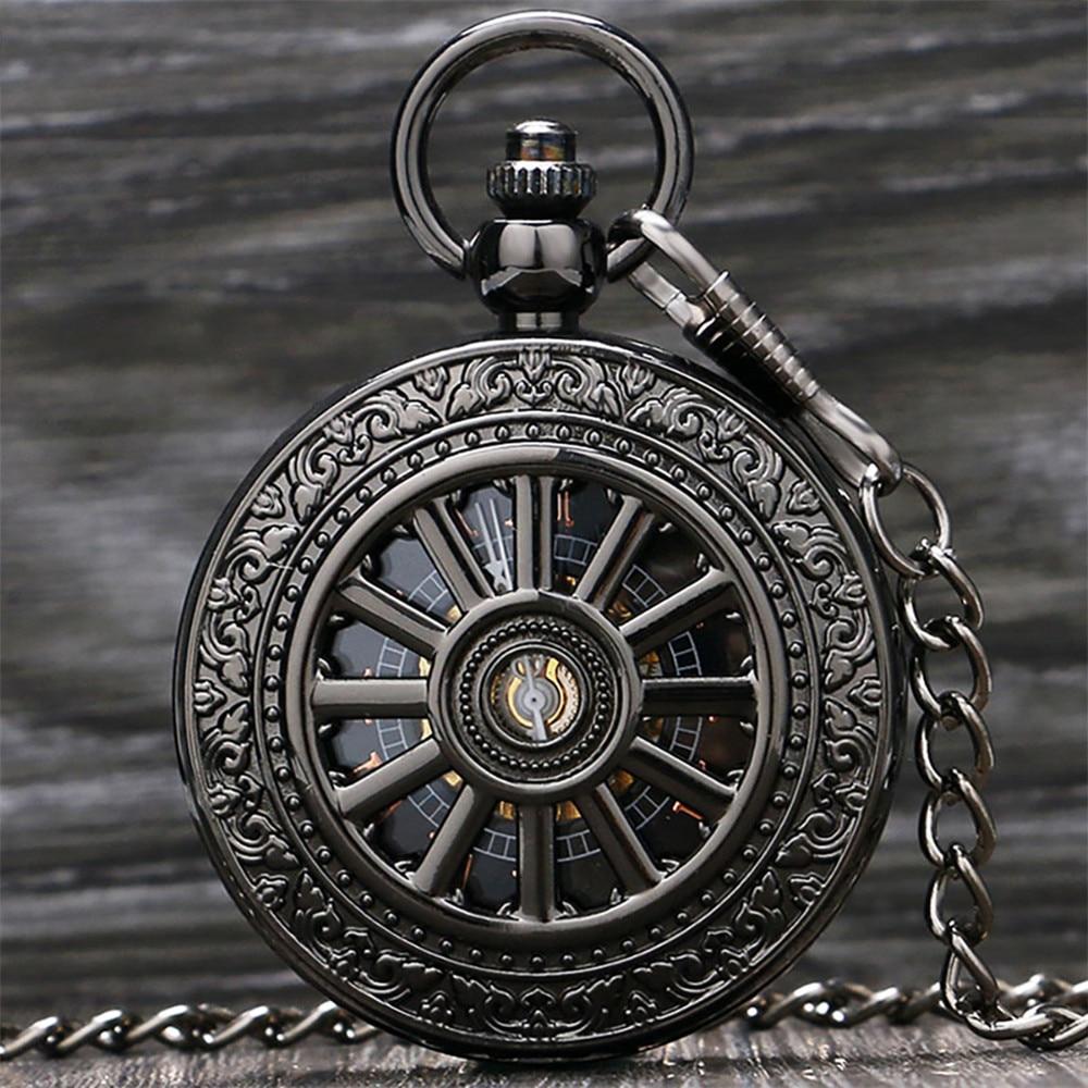 Черные/Серебристые/золотистые карманные часы с полым рисунком колес механические часы ручной работы винтажные Подвесные часы Подарки карм...