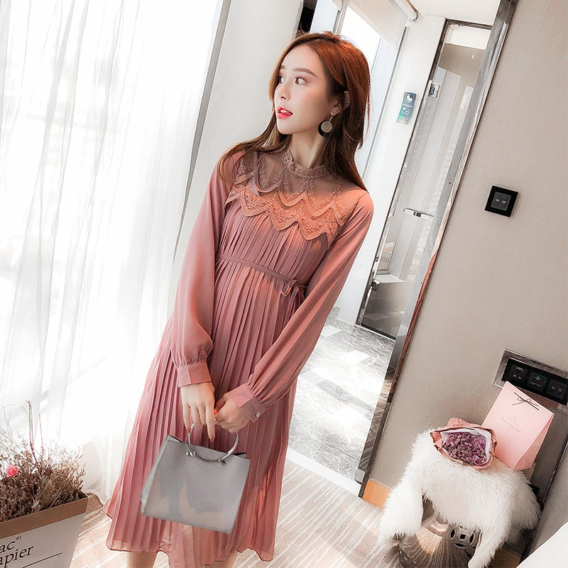 2020 Spring Autumn Chiffon Maternity Dresses Clothes for Pregnant Women Pleated Dress Pregnancy Clothings Long Dresses Plus Size enlarge