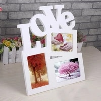 wholesale durable lovely hollow love wooden family photo picture frame rahmen white base art home decor