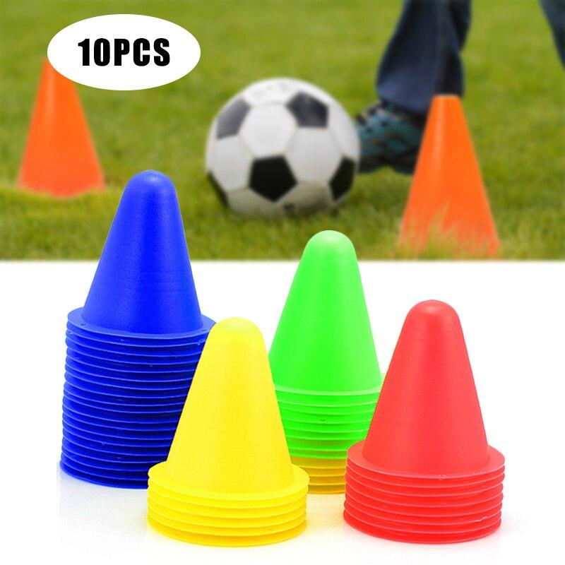 Recém 10 pçs marcador de treinamento de futebol sinal balde cone estrada obstáculos roadblocks sd669