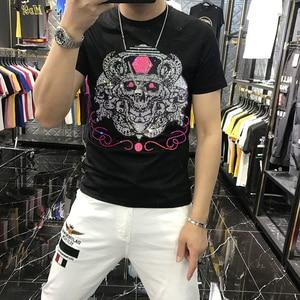 2021 New Men's T-Shirt O-Neck Black Pure Cotton Trendy SweatShirt Clothes  Brand Summer Hot Drill Top