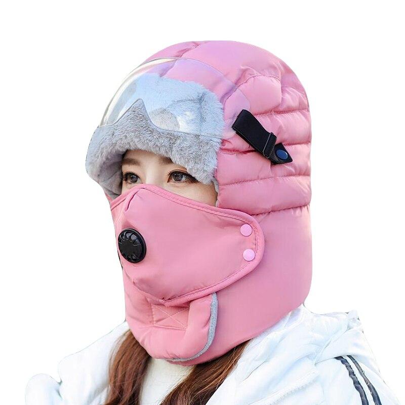 Inverno quente earflap bomber bonés cachecol masculino feminino russo trapper chapéu térmico earflap neve esqui chapéu capa de rosto