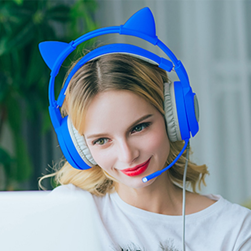 Detachable Cat Ear With Mic Wired Stereo Over-ear Universal Phones Gift Clear PC Gaming Headset Acce