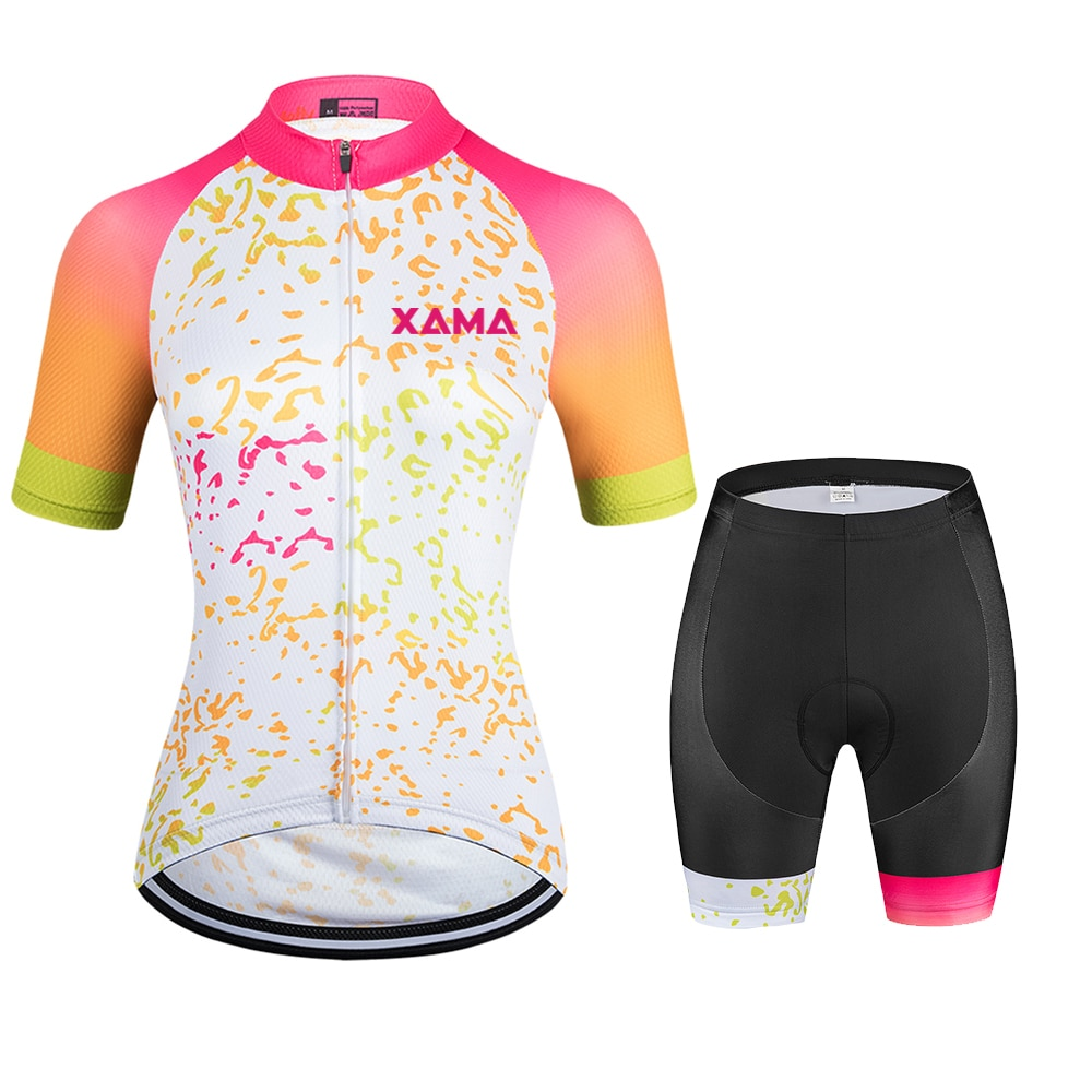 XAMA-Conjunto profesional de ropa de Ciclismo para Mujer Maillot de manga corta,...
