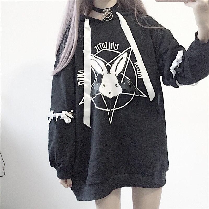 Jersey de punto para mujer, estilo Harajuku, estilo gótico y Punk, de gran tamaño, con capucha, color terciopelo