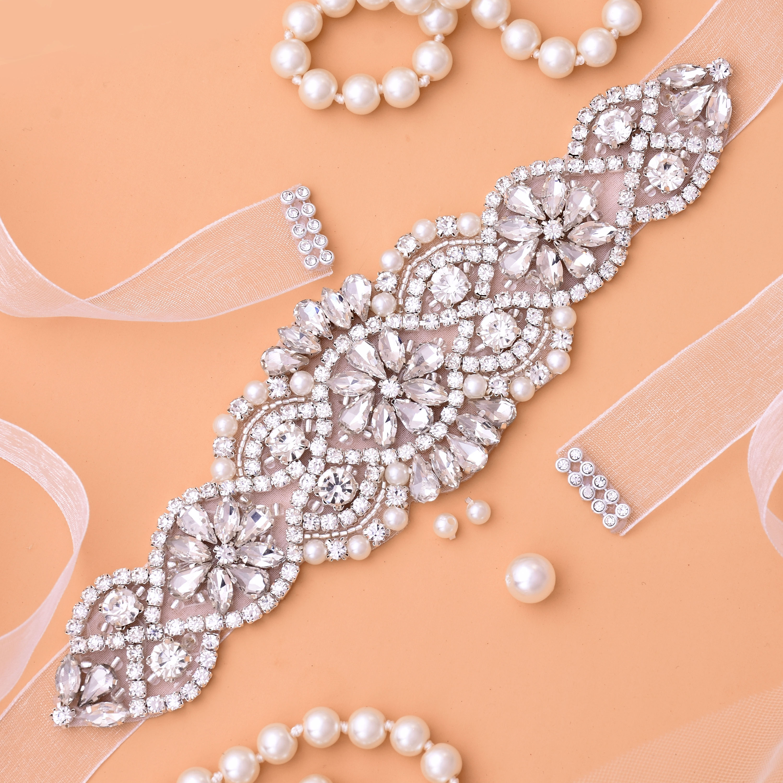 Tali pinggang pengantin berlian pengantin Rhinestones, tali pinggang kristal untuk gaun pengantin