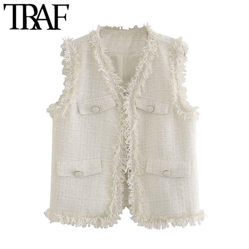 Traf moda feminina desgastado tassel tweed colete vintage v pescoço sem mangas feminino outerwear chic topos