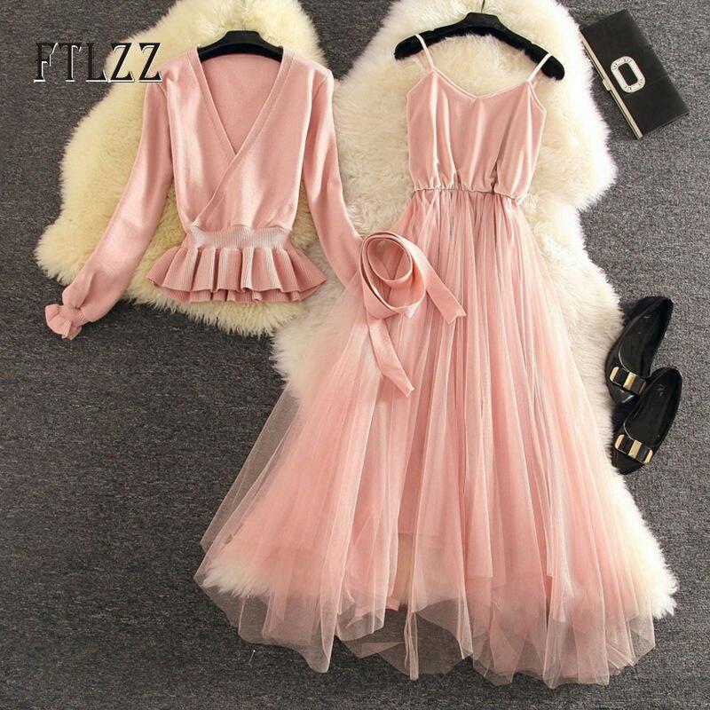 Women Casual Wear Dress 2019 New Autumn V-neck Sweater Patchwork Mesh Long Robe Ladies Elegant Pink Bandage Knit Dresses