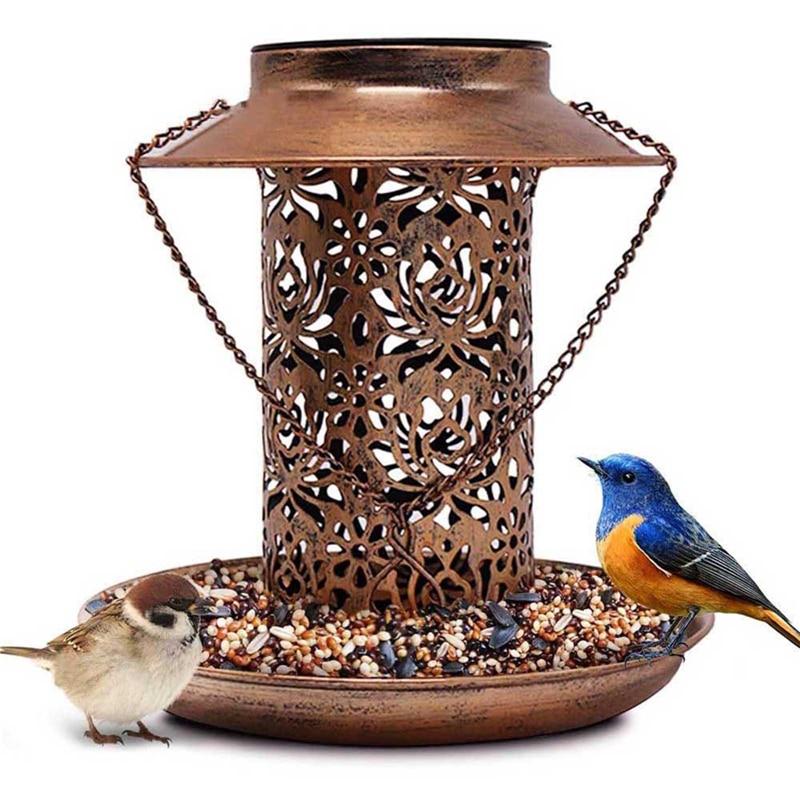 Solar Bird Feeder Metal Wrought Iron Hollow Lantern Antique Hanging Garden Decoration