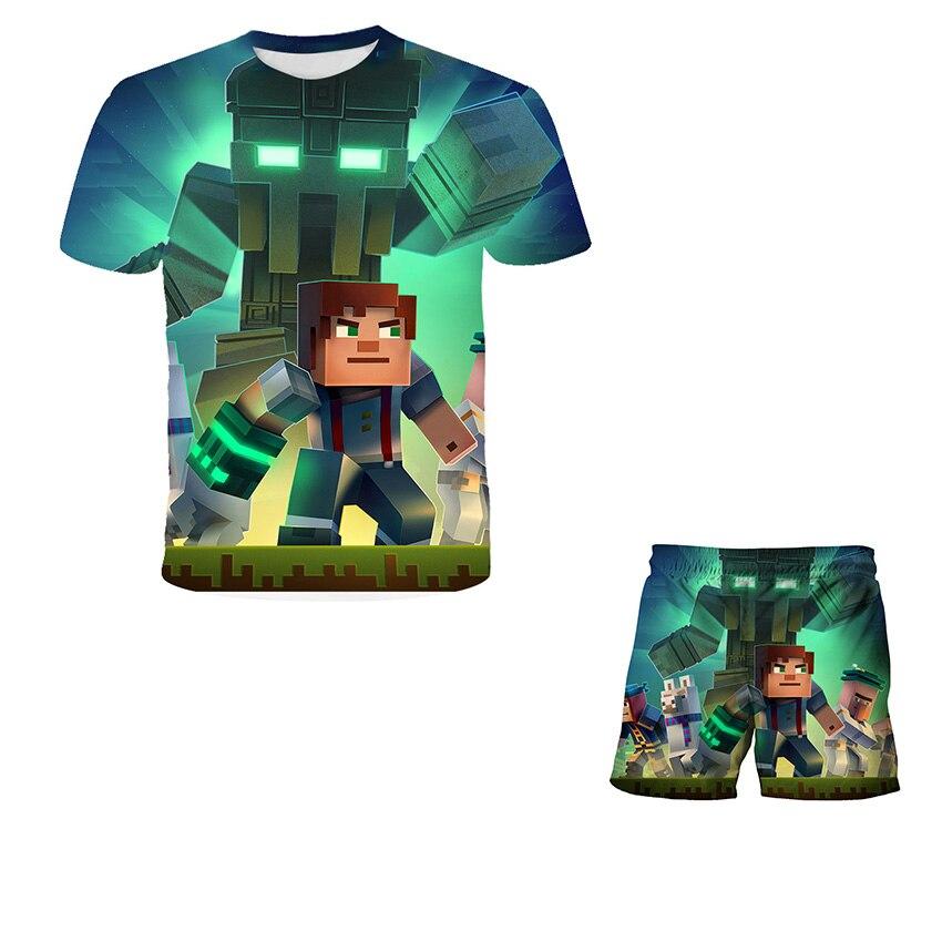 Nowa MY-World2021 Pop dziecica koszulka z nadrukiem spodenki dwuczciowy zestaw Kawaii Zombie Cartoon Streetwear hip-hopowa ko