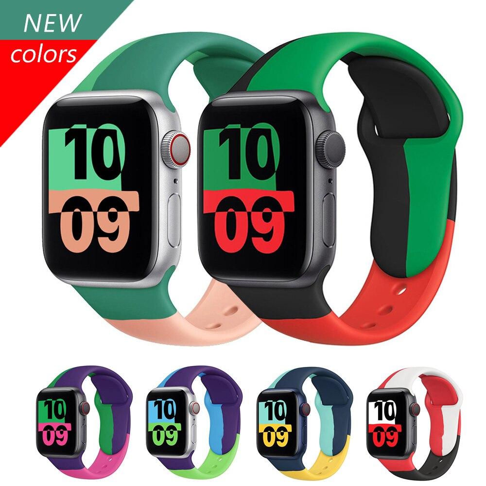 Ремешок силиконовый для apple Watch band 44 мм 40 мм 38 мм 42 мм, резиновый браслет для смарт-часов, браслет для iWatch 3 4 5 se 6 2021, розовый ремешок для смарт часов eva ava001 для apple watch 38 мм розовый