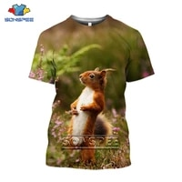 sonspee squirrel animal t shirt three dimensional 3d print women men t shirt cute fashion sportswear unisex oversized loose tops