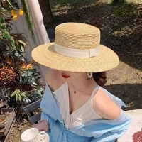 summer female natural stiff wheat straw boater fedora top flat hat women beach brim cap raffia sun hat for women jazz panama