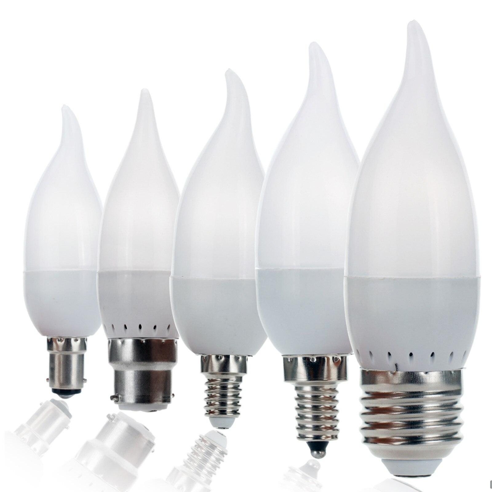 Regulable LED candelabro con llamas bombilla 3W E12 E14 B22 E27 vela...
